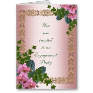 Engagement party invitation ivy and orchids greeting card