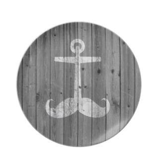 Hipster white mustache anchor on retro gray wood party plates