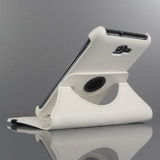 White / 360 Degrees Rotate Leather Flip Stand Cover