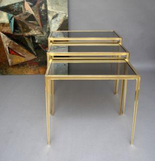 mid century modern brass nesting table Vereinigte Werkstätten