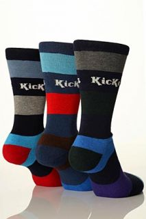 Mens 3 Pair Kickers Multi Striped Cushioned Socks