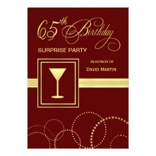 65th Birthday Surprise Party Invitation   Burgundy