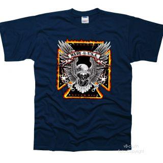 USA Biker Chopper Motorrad Adler T Shirt *443 blau navy *neu