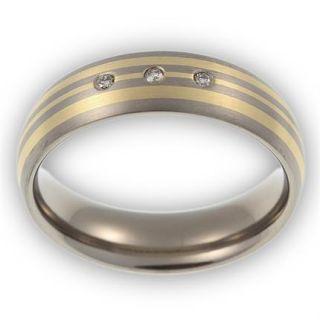 LUXUS Brillant Ring Titan/585 Gold mit 0,045ct Diamanten besetzt TT037