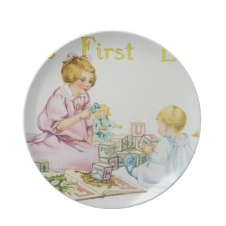Babys First Lesson Book Illustration Party Plates