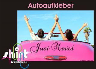 436   Just Married Hochzeit Heiraten Auto Aufkleber Autoaufkleber 60