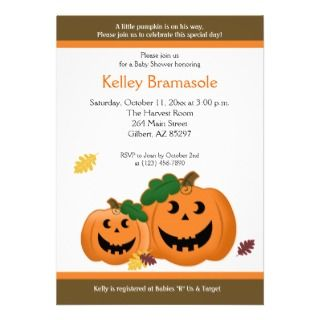 Jack O Lantern Pumpkins Baby Shower 5x7 Invitation