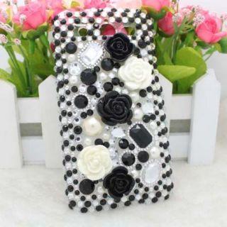 Bling Diamond Black Rose Back Hard Case Cover For Huawei Honor U8860