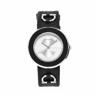 GUCCI Damen Uhr aus Edelstahl mit schwarzem Lederarmband U Play