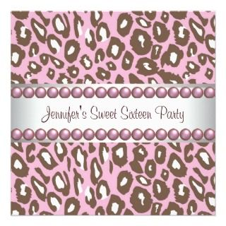 Pink Brown Leopard Sweet 16 Party Invitation