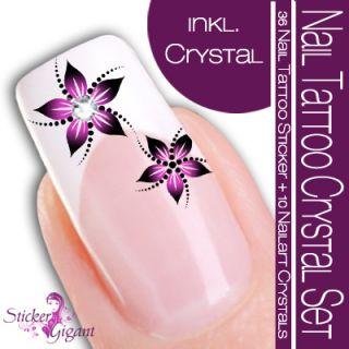 NEU Nail Art Tattoo Sticker Crystal SET schwarz/flieder