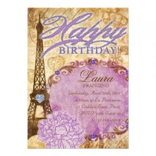 Sweet 16 Paris Eiffel Tower Vintage Flower Purple Personalized Invites