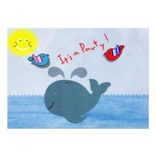 Cute Blue Whale Birds Sunshine Kids Party Invites