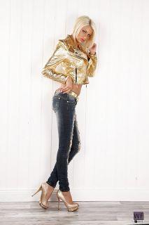 Sexy Destroyed Skinny Jeans mit Strass, Perlen und Ketten blau Gr. M
