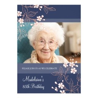 85th BIrthday Party Invitations Blue Coral Flowers invitations by