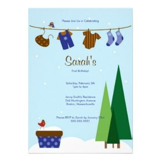 Winter Clothesline Baby Boy Birthday Party Invite