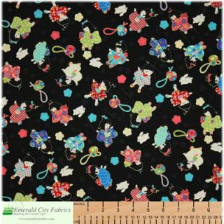 Trans Pacific Japanese Geisha Girls Black Cotton Fabric
