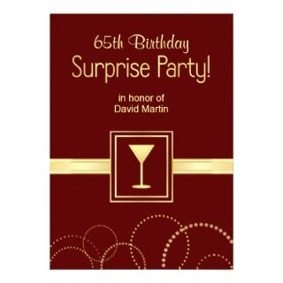 Custom 65th Birthday Surprise Party Invitations