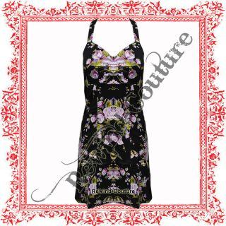 BLACK FLORAL VINTAGE COCKTAIL MINI DRESS UK 8   16