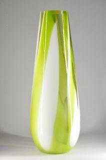 XXL Grosse Glas Elegante Bodenvase Gruen Weiss Design Murano