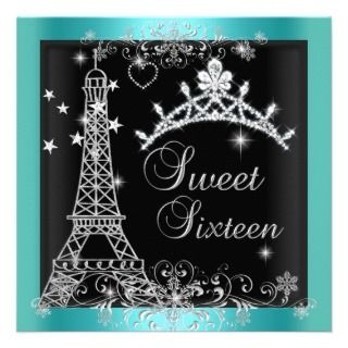 Sweet 16 Teal Blue Glitter Tiara Eiffel Tower 2 Announcements