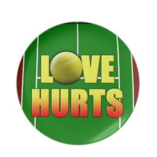 Love Hurts, Funny Tennis Party Plates