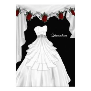 Party Dress Red Rose Quinceanera Invitations