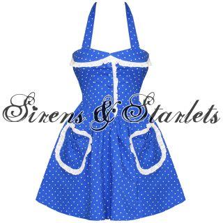 Damen Kleid Partykleid Blau Mit Weißen Punkte Hell Bunny Mimi
