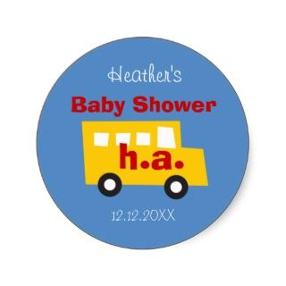 Boys Toys Yellow Bus Baby Shower Favor Gift Label Round Sticker