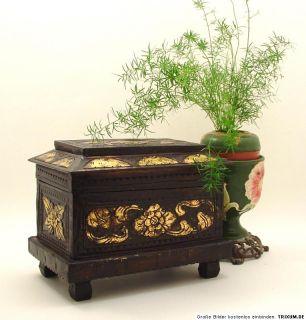 orientalische Truhe~Gold Antik~Kunst~Schmuckkasten~Holz~geschnitzt