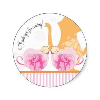 Baby Shower Tea Party  Twin Girls Custom Invites