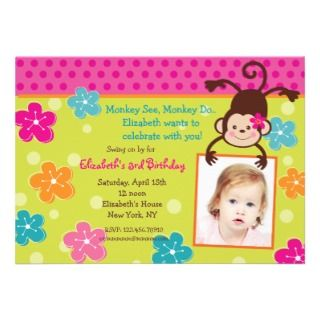 Hula Monkey Luau Baby Shower Invitations