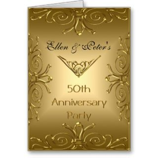 Card Invitation 50th Wedding Anniversary Art Deco