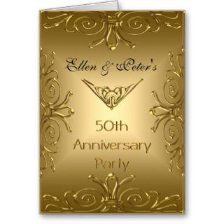 Card Invitation 50th Wedding Anniversary Art Deco