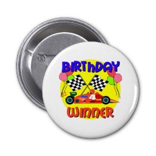 4th Birthday Race Car Birthday Pinback Buttons