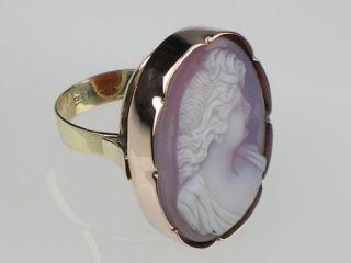 Art Deco Gold Ring mit Achat Gemme Kamme gr.56, WR signiert
