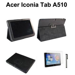 Acer iconia tab A510 A700 schwarz Leder Tasche Etui case & Folie & pen