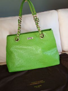 Maryanne Green Ostrich Print Leather Kelly Bag Purse Handbag NWT 528