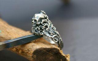 Totenkopf Gothic Biker Rocker Skull Alchemy Silber 925 Ring