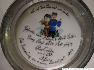 Reservisten Krug Glas  Handwerk der Schmiede um 1891 Drag.Reg.Nr.20