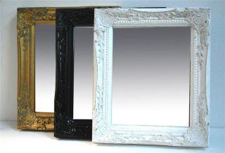 Spiegel weiss gold schwarz 32 x 27 cm Facettenschliff