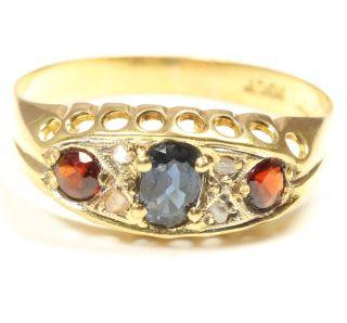 18kt 750 antiker Goldring Gold Ring mit Granat Saphir Granatring