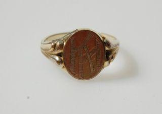 antiker Herrenring Siegelring original Gold Vlies Initialen HK KH Gr
