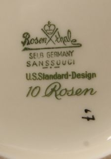 Selb Rosenthal Sanssouci   10 Rosen   Kaffeekanne Kanne   US Zone 1947