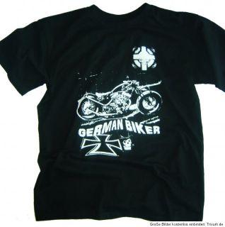 German Biker T Shirt schwarz Gr.L Chopper Rocker Motorrad