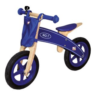 Bino Laufrad Lauflernrad aus Holz Blau Motorrad Holzmotorrad   NEU