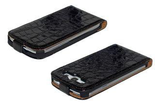 GILSEY Leder Tasche für Samsung Galaxy S3 Schwarz KROKODIL TASCHE