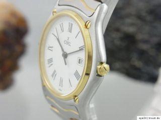 EBEL CLASSIC WAVE 34 mm MEDIUM STAHL / 18K GOLD SAPHIR GLAS DAMEN UHR
