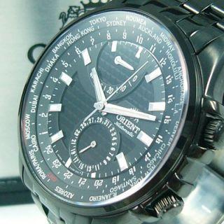 Orient World Timer Black Classic Automatic Uhr Gun Color Glasboden