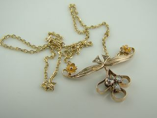 585 gelb GOLD Jugendstil COLLIER 0 68Karat Diamanten Diamant Brillant